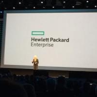HP CEO Meg Whitman debuts the new Hewlett Packard Enterprise logo.
